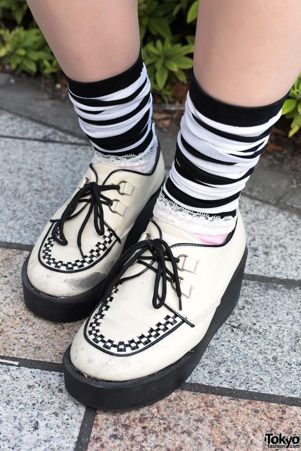 White Creepers & Striped Socks