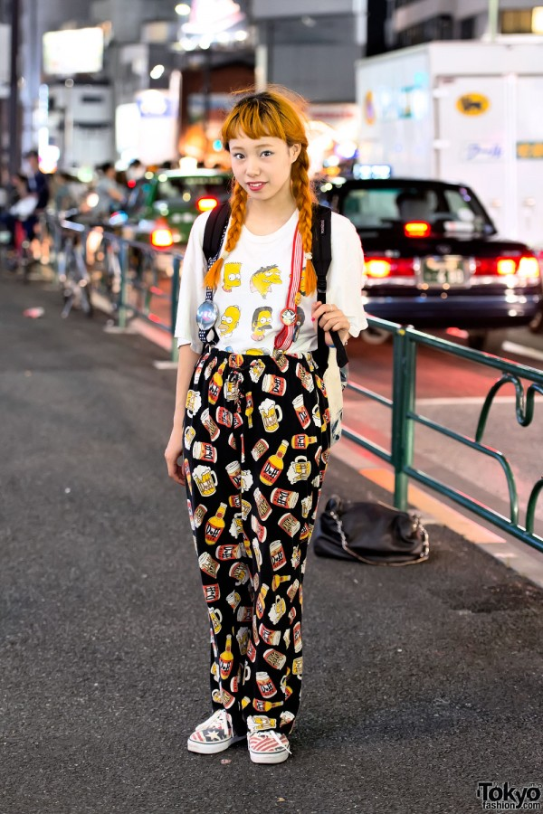 Twin Braids Hairstyle, The Simpsons & Suspenders in Harajuku