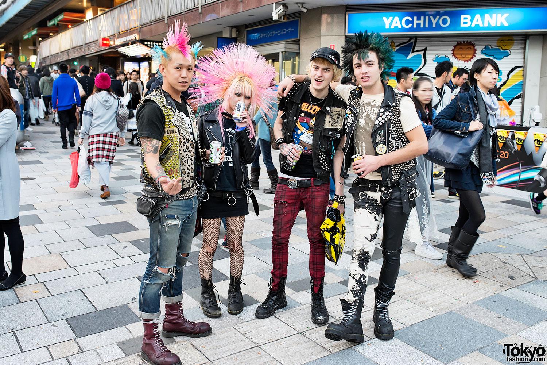 Harajuku Punks w/ Mohawks, Studded Leather & Boots