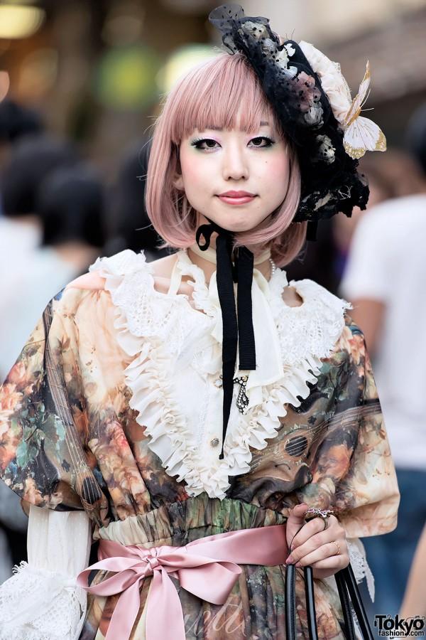 Ruffle Top & Lace Hat Lolita Style