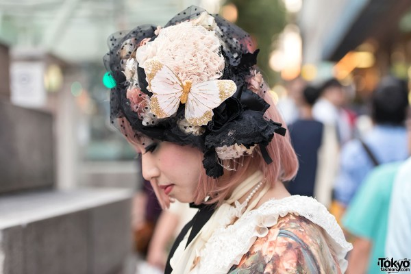 Butterfly & Lace Lolita Hat in Harajuku