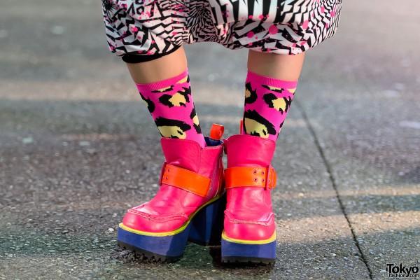Pink Platform Ankle Boots