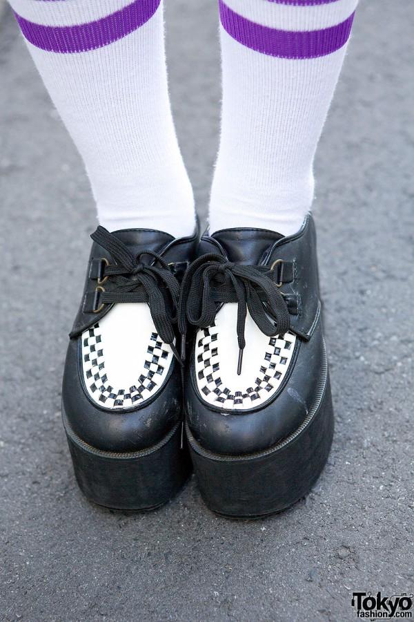 Striped Tube Socks & Platform Creepers