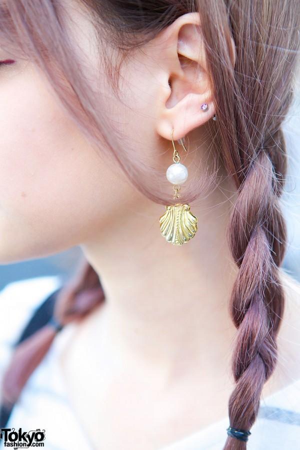 Seashell & Pearl Earrings