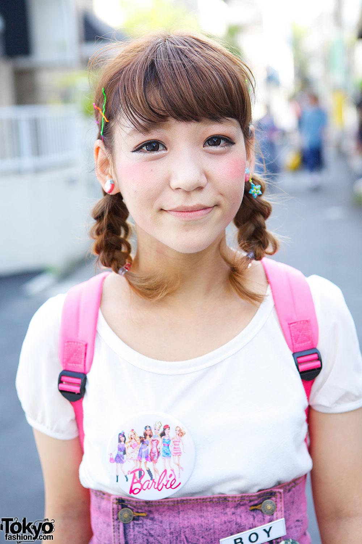 harajuku girls in braids w   nadia skirt  lego backpack  u0026 barbie