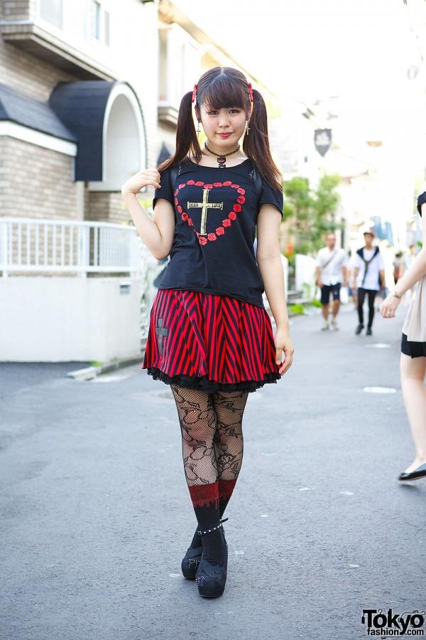 Harajuku Girl's Hellcatpunks Casket Backpack, Twintails, Crosses & Hearts