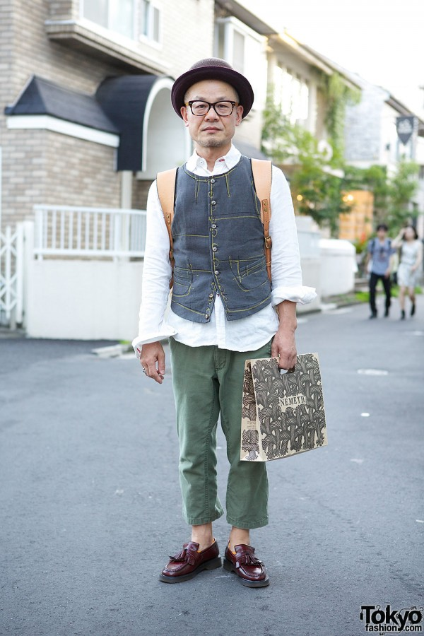 Christopher Nemeth & Or Glory w/ Glasses, Hat & Loafers in Harajuku