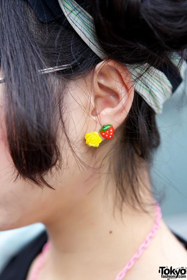 Flower & Strawberry Earrings