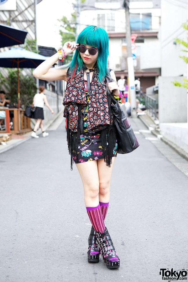 Colorful Fashion & Blue Hair in Harajuku