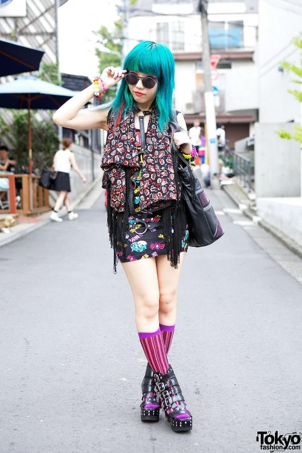 Avantgarde Harajuku Harness, Blue Hair & Yosuke Platform Boots