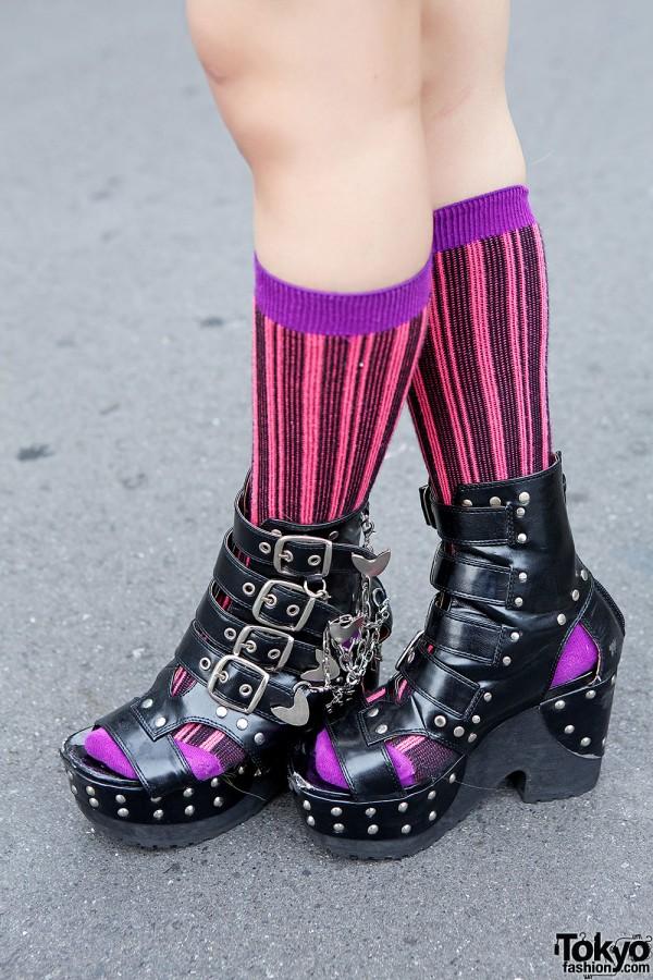 Yosuke Platform Boots & Striped Socks