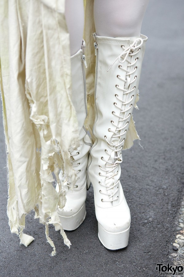White Lace Up Platform Boots