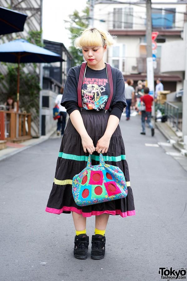 Suspender Skirt, Rat Fink Tee & Patchwork Bag in Harajuku