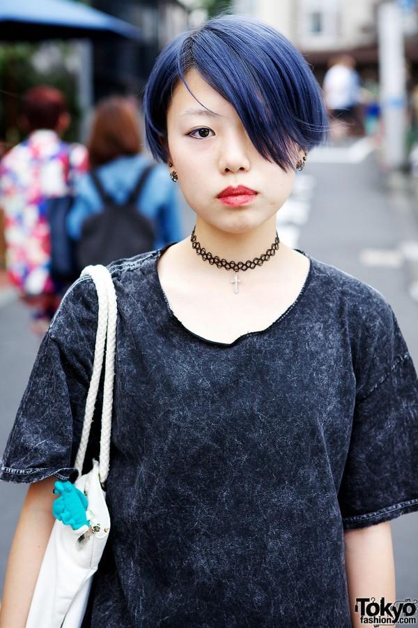 Blue Hair & Cross Choker