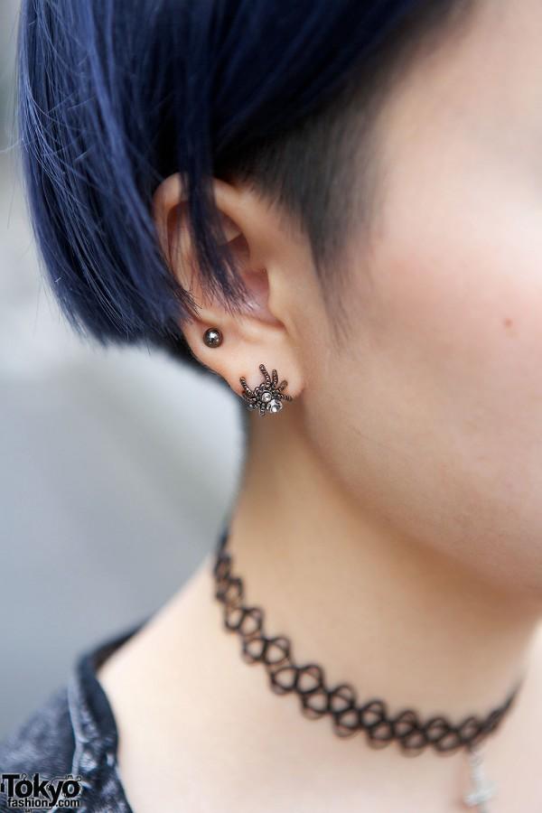 Spider Earrings & Choker