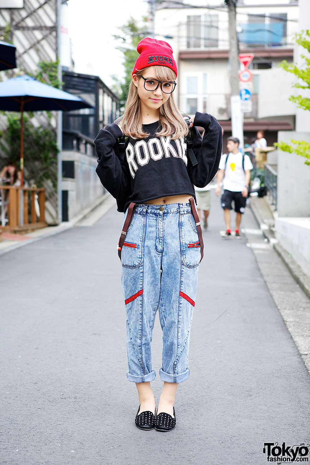 Ezaki Nanaho In Harajuku W Crop Top Glasses Studded Loafers