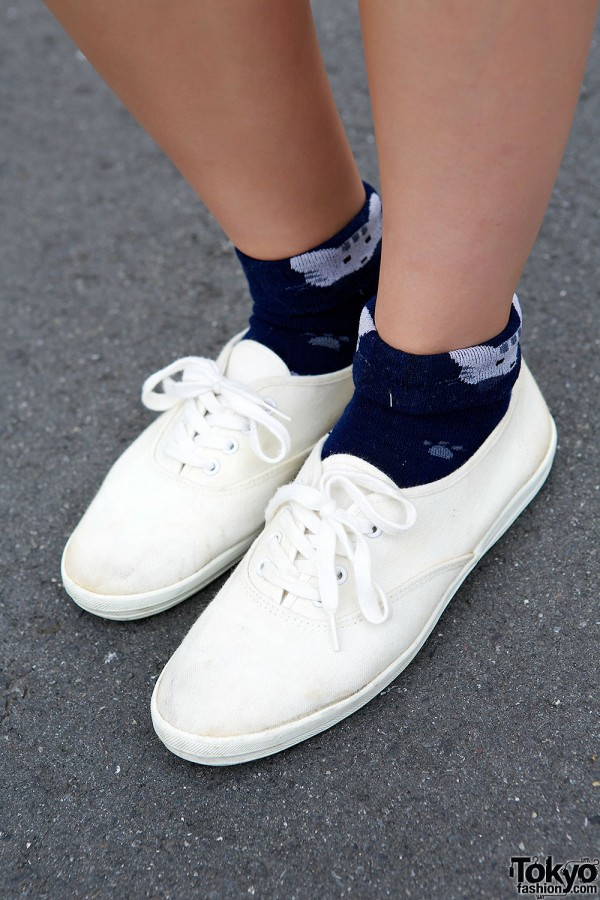 Cat Socks & White Sneakers