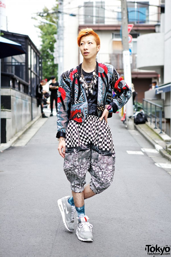 Monomania Harajuku Staffer in Colorful Outfit w/ Eye Necklace & Nike Sneakers