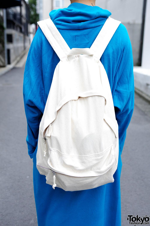 Short Blonde Hairstyle W Oversized Blue Dress Muji