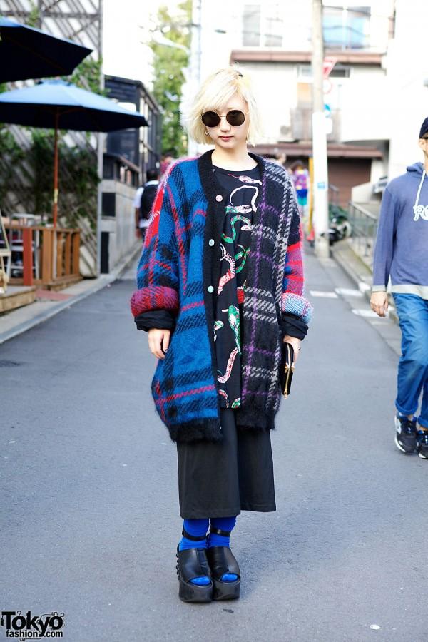 Honey's Dead Harajuku Matsuri in Snake Print, Plaid & Studded Tokyo Bopper Platforms