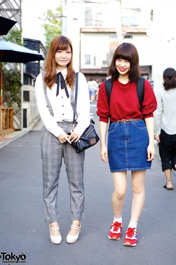 Harajuku Girls in Suspenders, Denim Skirt & Sweatshirt w/ Sango & American Apparel