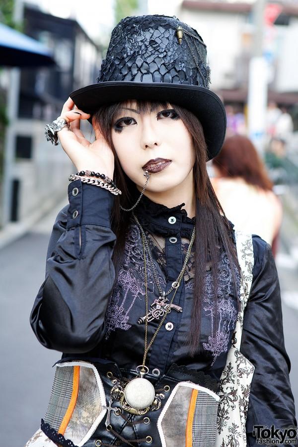 Black Lace Blouse & Gothic Accessories