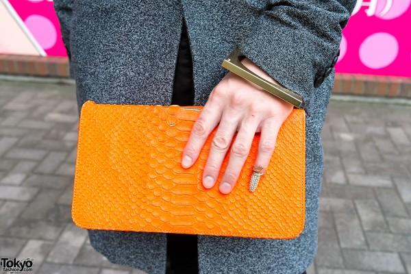 Juun.J Neon Orange Clutch