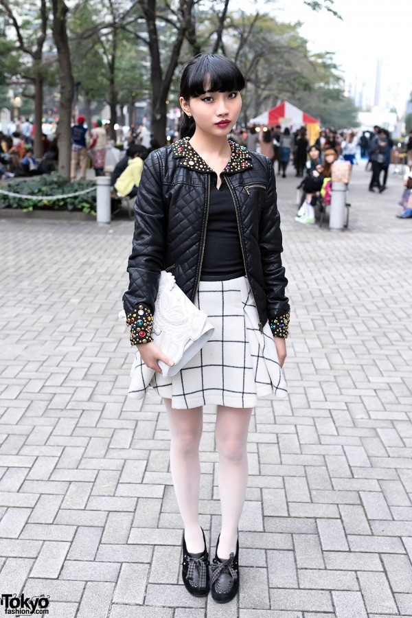 Embellished Leather Jacket & Sacai Skirt in Tokyo
