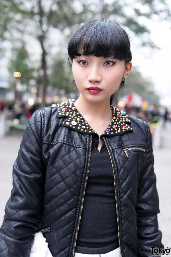 Embellished Leather Jacket, Zara