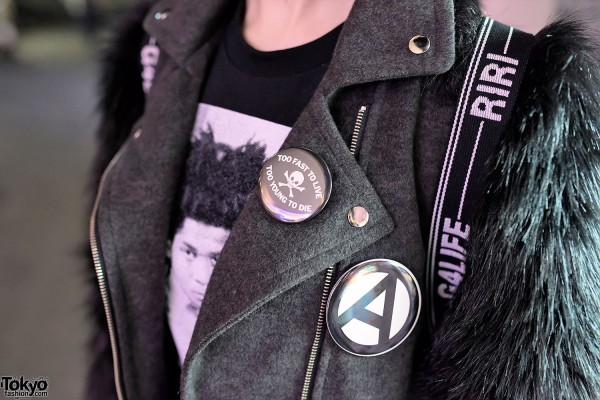 Cloth Biker Jacket & Punk Buttons
