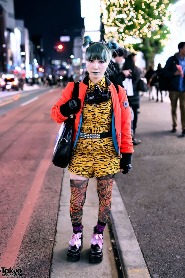 Green Haired Harajuku Girl w/ Jeremy Scott Fashion & Tiger Backpack