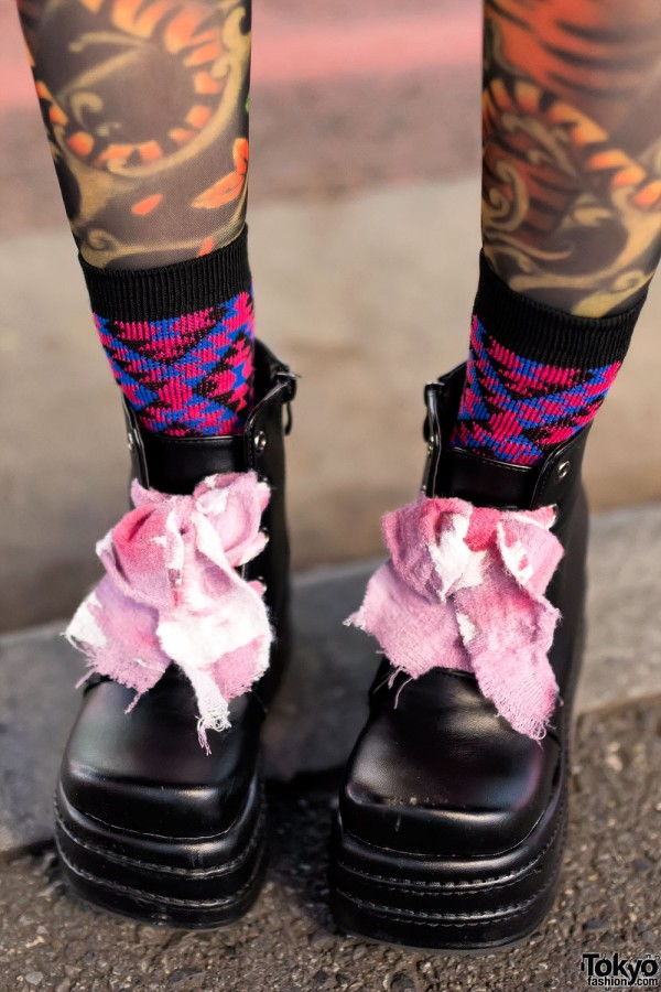 Platform Boots With Ribbon Laces