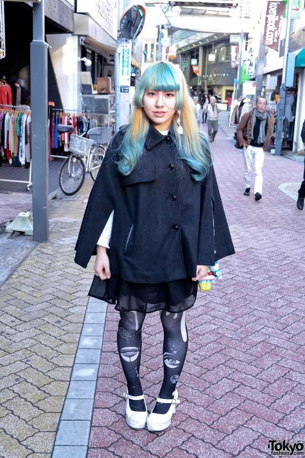 Green Bangs Hairstyle, Sheer Skirt, Graphic Tights & Hello Kitty in Koenji