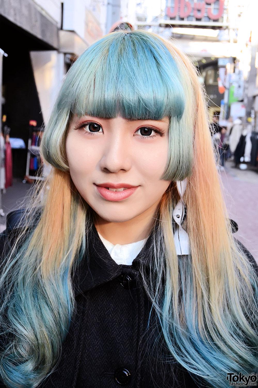 Green Bangs Hairstyle Sheer Skirt Graphic Tights Amp Hello