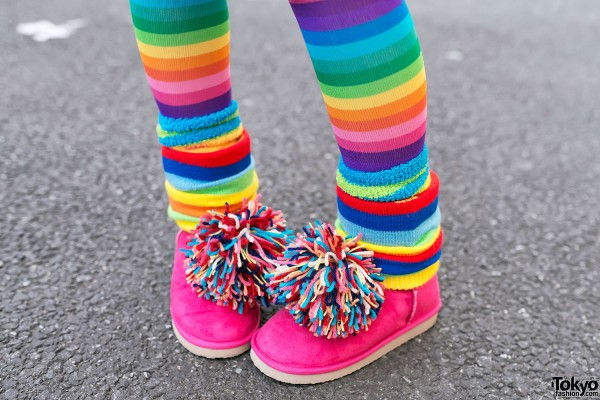 Rainbow Knee Socks & PomPom Boots
