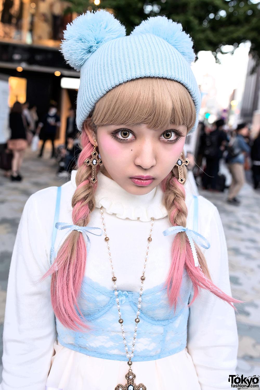 Harajuku Kawaii Style w/ Pompom Beanie, Milk Skirt & Katie ...