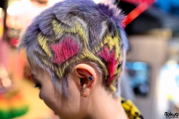 Colorful Shaved Punk Hairstyle