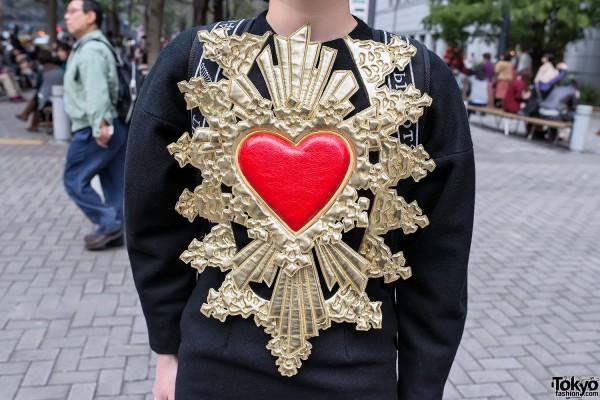 KTZ Gold & Red Heart Dress