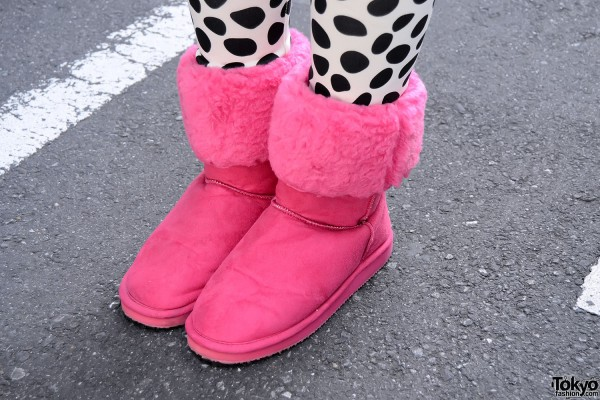Pink Mouton Boots