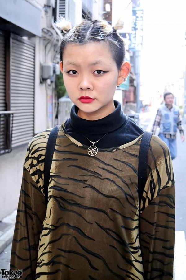 Cute Hairstyle & Red Lips in Koenji
