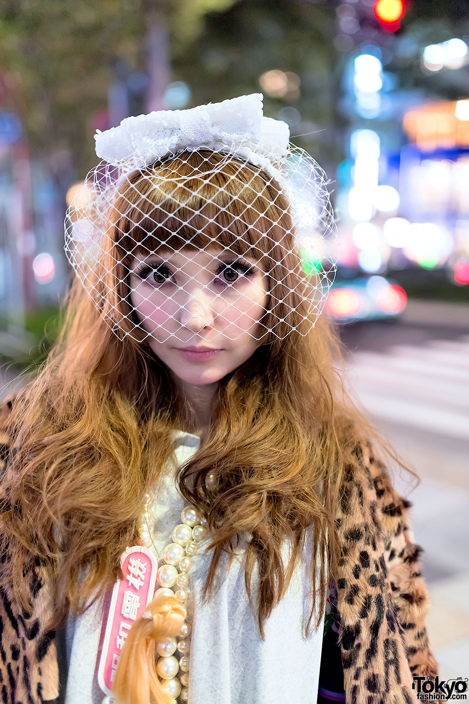 Meewee Dinkee Designer's Birdcage Veil, Wooden Platforms & Chanel Bag in Harajuku