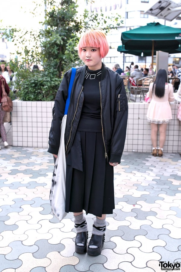 Pink Bob, Oversized Bomber, Huge Bag & Comme des Garcons in Harajuku