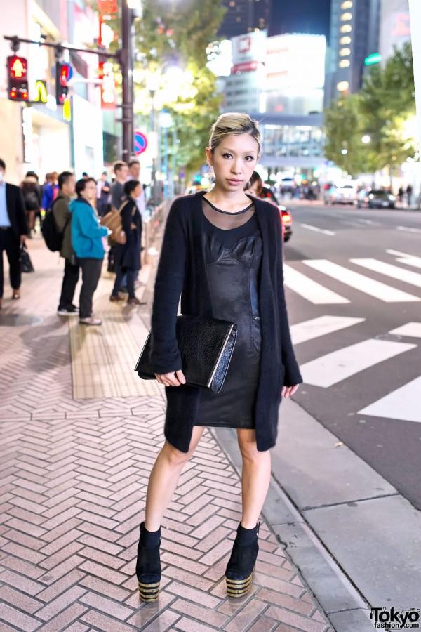 Black Bustier Dress & Fuzzy Sweater in Shibuya