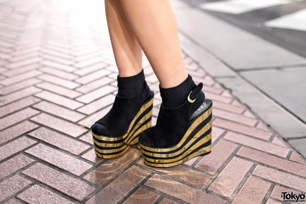 Jeffrey Campbell Gold Wedges