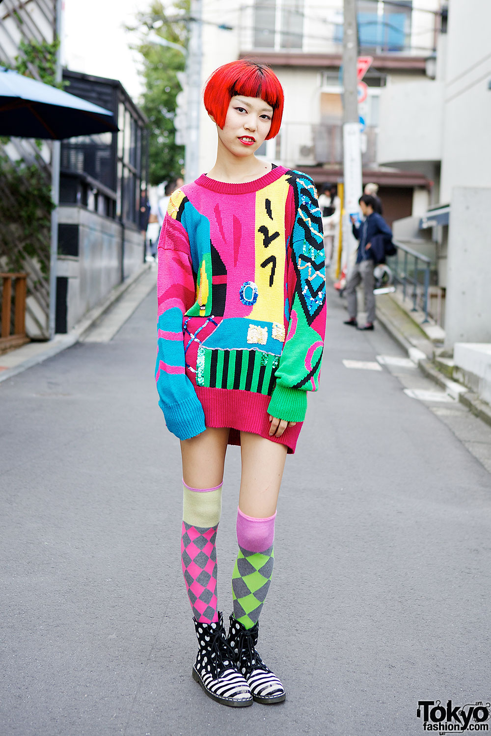 Circus Harajuku Staffer w/ Rainbow Hair, Oversized Sweater ...