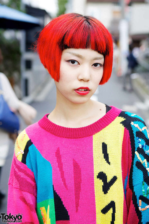Circus Harajuku Staffer w/ Rainbow Hair, Oversized Sweater & Colorful Socks