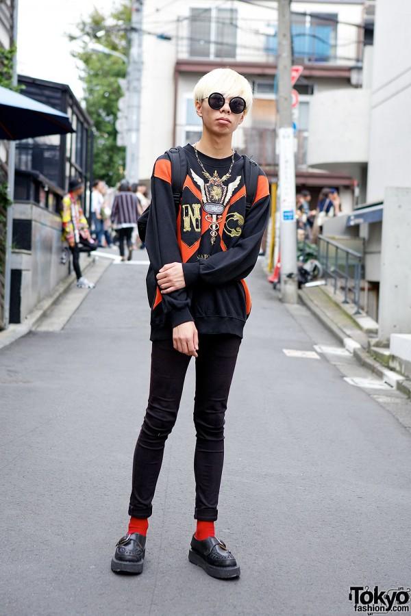 Graphic Sweatshirt, Skinny Jeans & George Cox Creepers in Harajuku