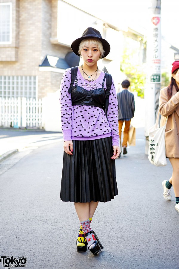 Icons Backpack w/ Bustier, Pleated Skirt & Layered Necklaces in Harajuku