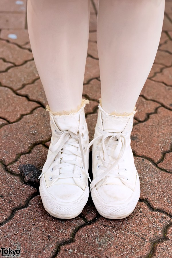 White Canvas Sneakers in Shibuya