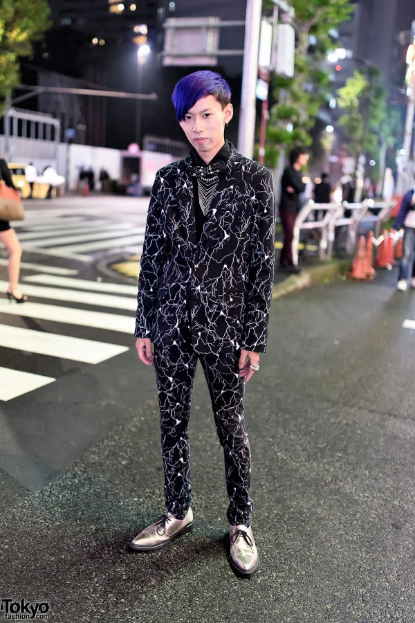 Yaponskii Graphic Suit, Silver Rings & Silver Shoes in Harajuku